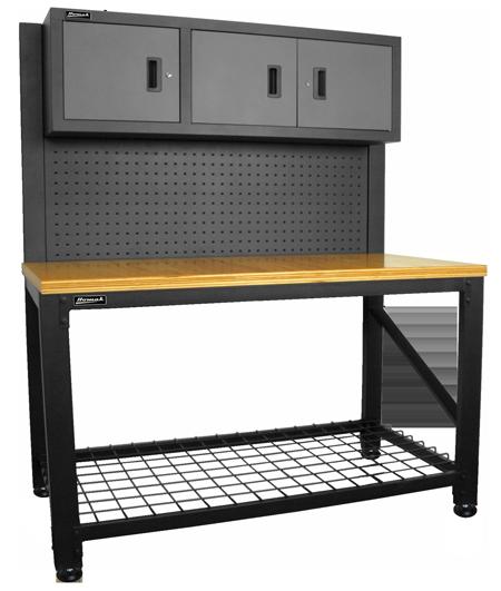Homak Security Gs00659031 59 Wood Top Reloading Bench W 3 Door