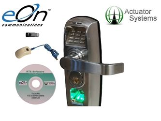 Actuator Systems eOn RTE-302SC Biometric / Pin and Ethernet Enabled Handle Lock in Satin Chrome