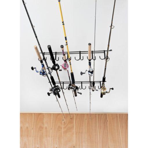 Rack 39 em 7009 overhead indoor outdoor 12 rod rack 7009 for Gun fishing rod