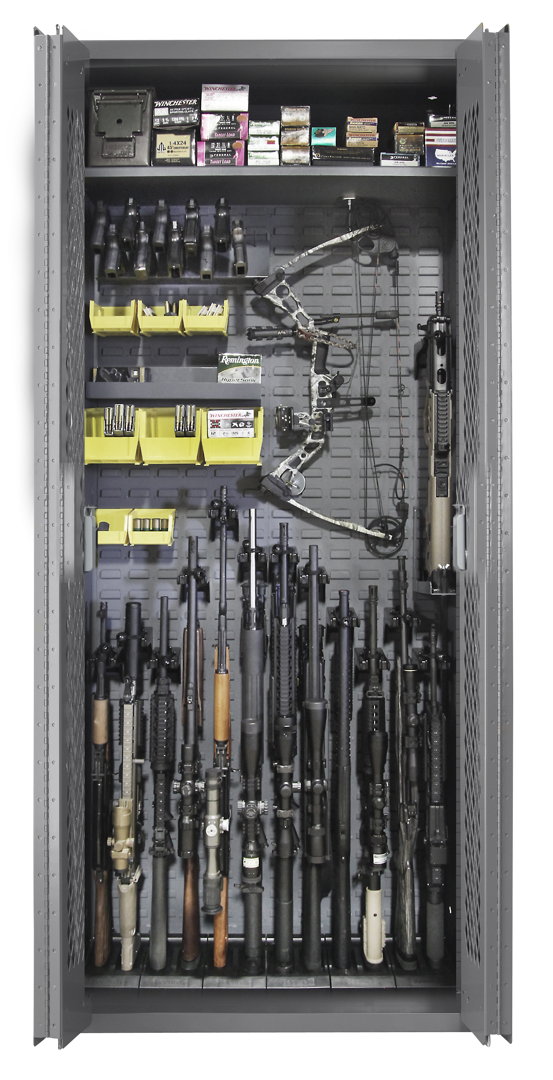 SecureIt Tactical Model 84: 12 Gun Storage Cabinet with Three Adjustable Shelves - SEC-­300-­12R
