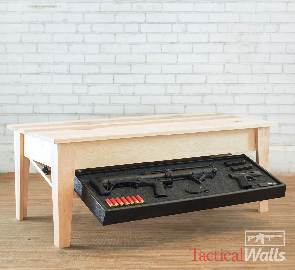 Coffee Table With Gun Drawer Plans: Tactical Walls Coffee Table