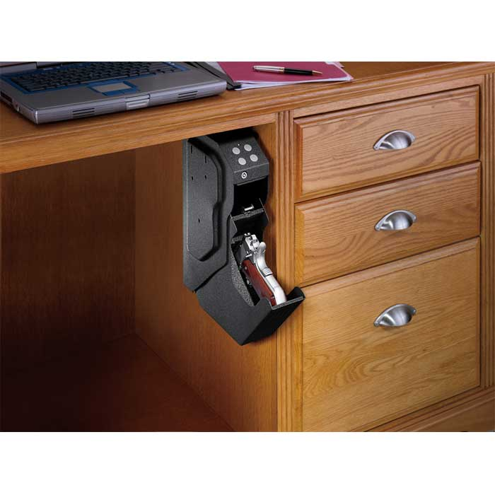 Shown installed under desk - open