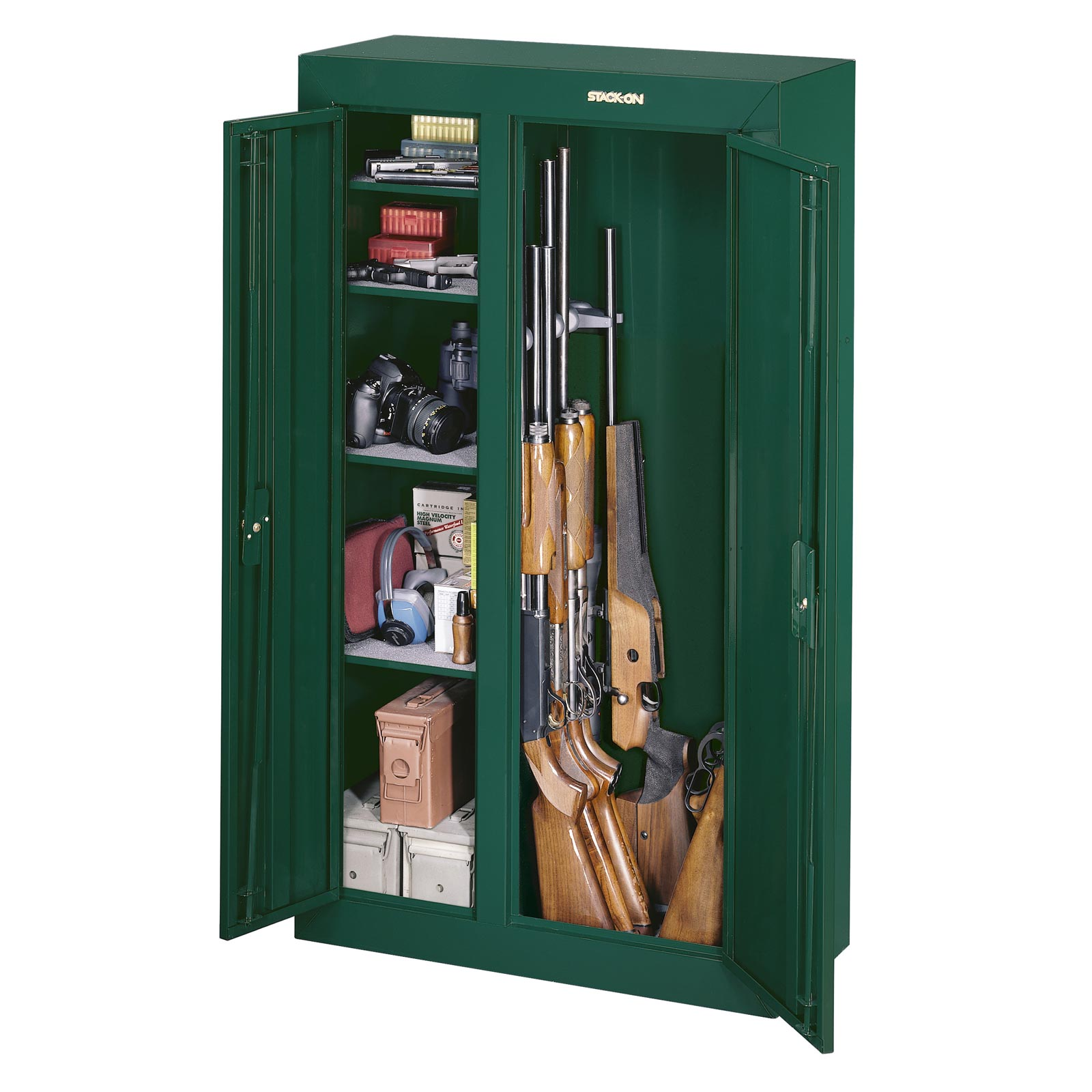 Stack on gcdg 924 gun cabinet double door security cabinet for Best spray gun for kitchen cabinets