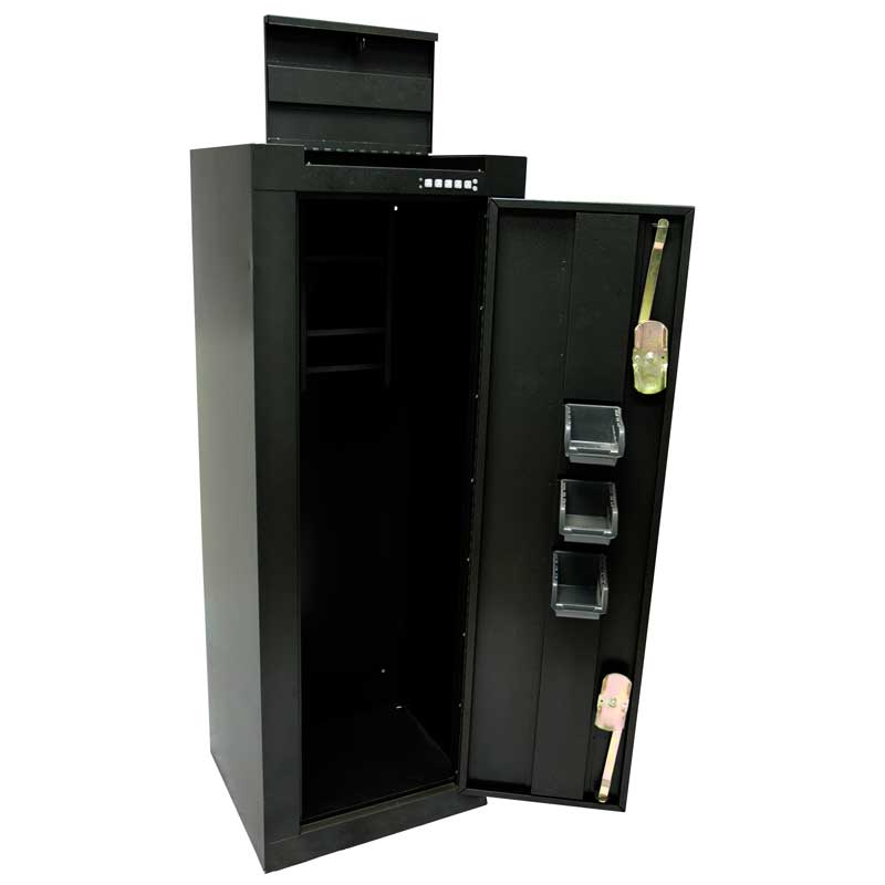 Homak 14 gun steel cabinet w quick access area for pistol for Cabinets quick