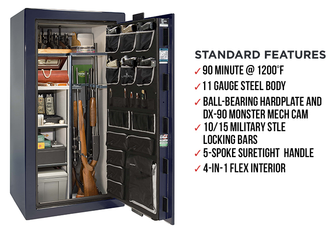 Liberty Gun Safe - Lincoln Series 25 - USA Made 24 Gun Safe - 90 Min @  1200° Fire Rating