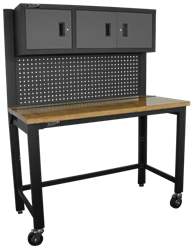 "Homak Security - GS00659131 - 59"" Collapsible Wood Top reloading Bench w/3 door Steel Cabinet"