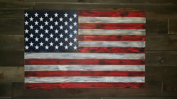 San Tan Wood Works - Burnt American Red White and Blue Concealment Flag (Large Size)