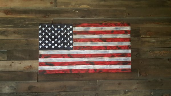 San Tan Wood Works - Burnt American Red White and Blue Concealment Flag (X-Large Size)