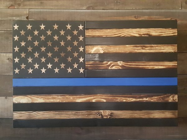 San Tan Wood Works - Burnt Thin Line Concealment Flag (Large Size)