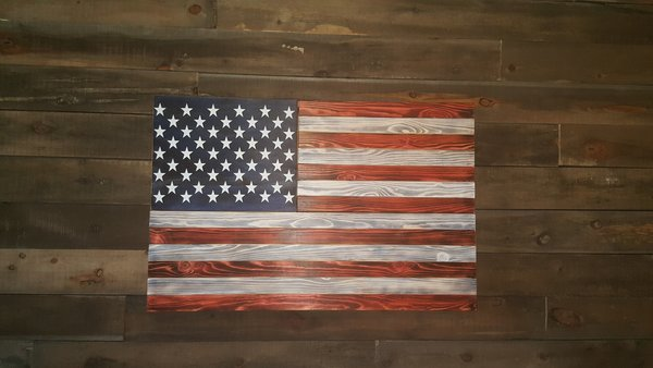 San Tan Wood Works - Burnt American Red White and Blue Concealment Flag (Standard Size)